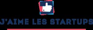 Logo complet J'aime les startups rose rouge bleu blanc pouce levé