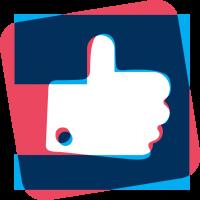 Logo j'aime les startups bleu rose rouge blanc carré pouce