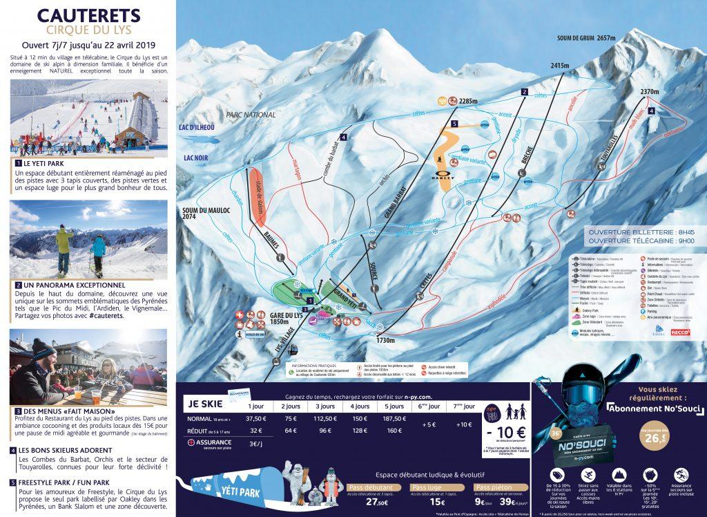 plan des pistes de ski alpin de cauterets