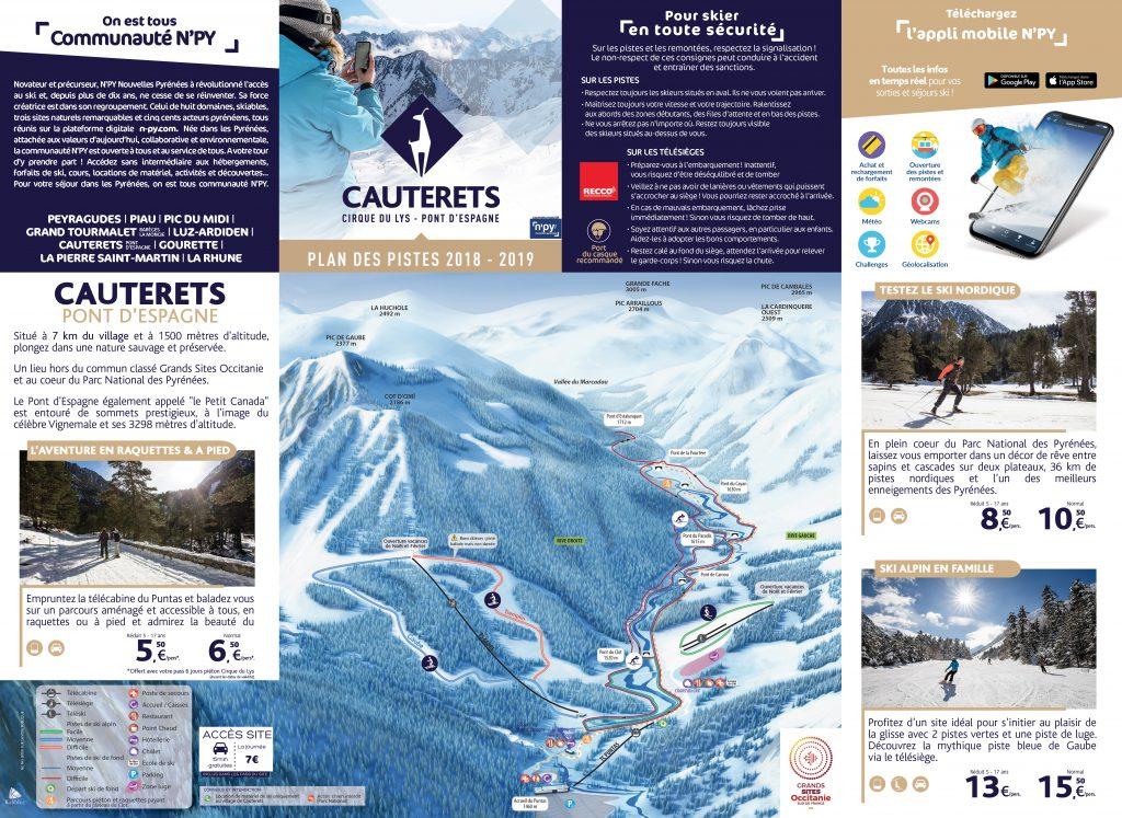 plan des pistes de ski de fond de cauterets