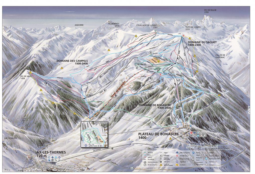 plan des pistes Ax 3 Domaines